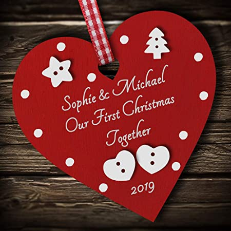 Personalised First Christmas Mr and Mrs Hanging Heart Bauble Red Acrylic Hearts
