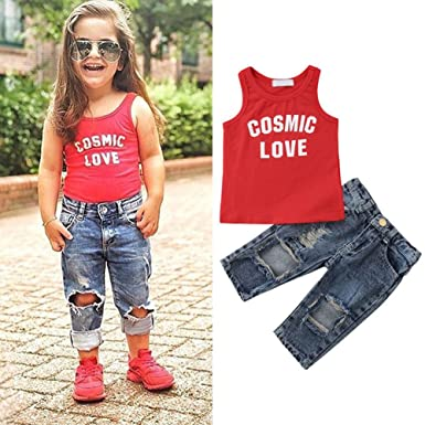 a8f43de279f2 Amazon.com  iTranyee Toddler Baby Boys Girls Letter Vest Top + Ripped Jeans  2 Piece Pants Set Outfits  Clothing