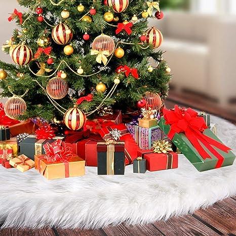 Joysocks Christmas Tree Skirts Faux Fur Large Plush White Round Base Mat Xmas Tree Skirts for Holiday Party Decorations 36Inch Fits Any Size Tree