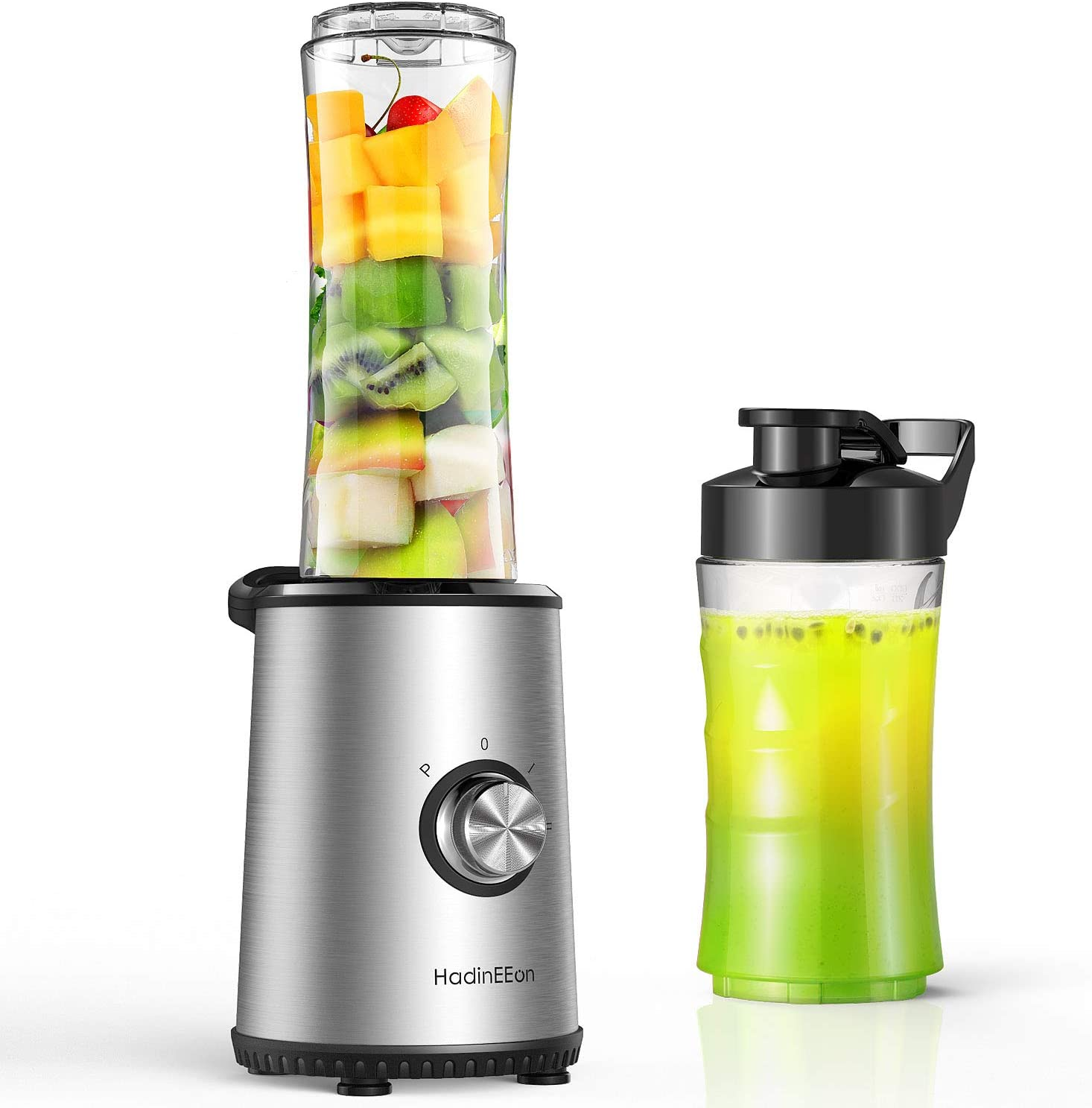 HadinEEon Personal Blender with 3 Optional Modes, Smoothie Blender with 20oz & 10oz BPA-Free Portable Cups, Small Size Blender for Shakes and Smoothies, Silver