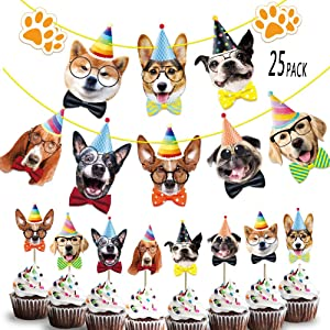 Dog Birthday Banner Cake Topper Decorations Garland Dog Theme Bunting Cupcake Toppers Bday Decor Party Supplies for Birthday Party