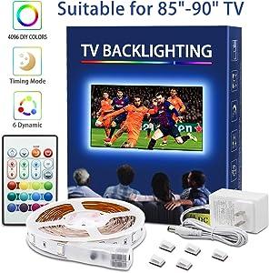 LED Strip Lights for 85-90in TV RGB 5050 LEDs 4096 Colors Changing TV LED Backlight 30mins Timing Off LED Tape Light Kits with Remote for Monitor Bedroom Desk Decor Ambient Light