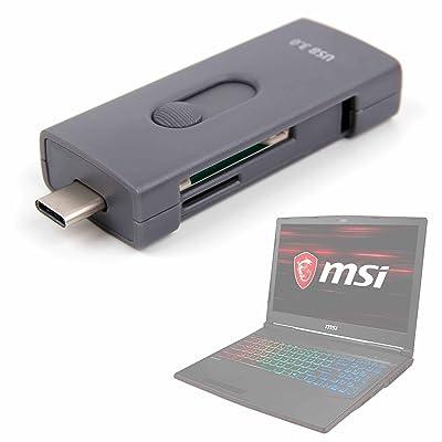 DURAGADGET Lector de Tarjetas SD y Micro SD con Conexión USB/USB C para Portátil MSI GP73 Leopard 8RF-415XES, MSI GP63 Leopard 8RF-412XES