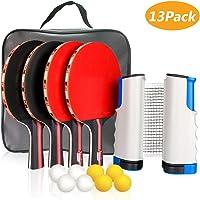 XDDIAS Conjunto de Tenis de Mesa con Red, 4 Raquetas + 8 Bolas/Pelotas de Tenis de Mesa + 1 Red Retráctil, Juego de…
