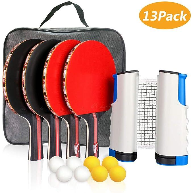 Xddias Conjunto de Tenis de Mesa con Red, 4 Raquetas + 8 Bolas/Pelotas de Tenis de Mesa + 1 Red Retráctil, Juego de Tenis de Mesa Portátil para ...