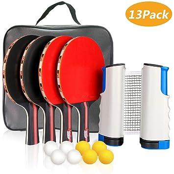 new concept c4796 aa6fd Xddias Raquette de Ping Pong Professionnel Set, 4 Raquette de Tennis de  Table + Rétractable