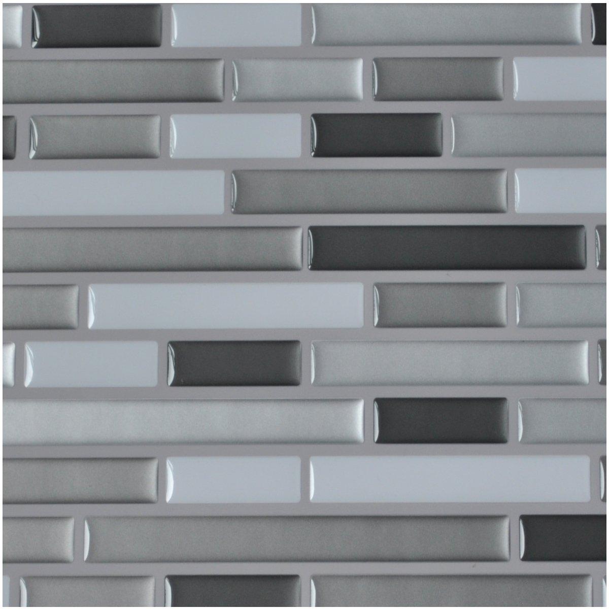Amazon Com Art3d 10 Pieces Glue On Kitchen Backsplash Sticker 9 8 X 9 7 Gray Brick Design Home Kitchen