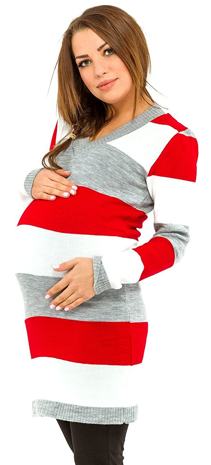 Happy Mama Womens Maternity Stretch Knit Colour Block Jumper Dress Stripes. 405p ONE SIZE US 4/6/8) HMMG-557-2232_405_1