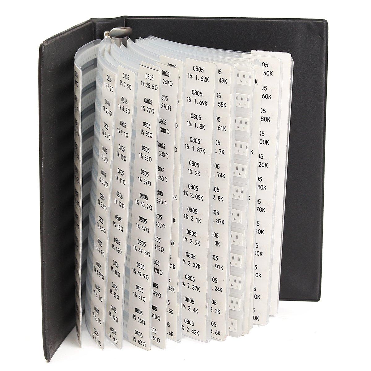 LaDicha 5525Pcs 221 Valores 0805 Resistores De Chip SMD 1/% 0-20M Surtido Kit Libro De Muestra