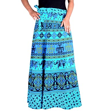 c0ad8e8ea5 Sttoffa Skirt Indian Printed Cotton Long Wrap Around Skirt with Open ...