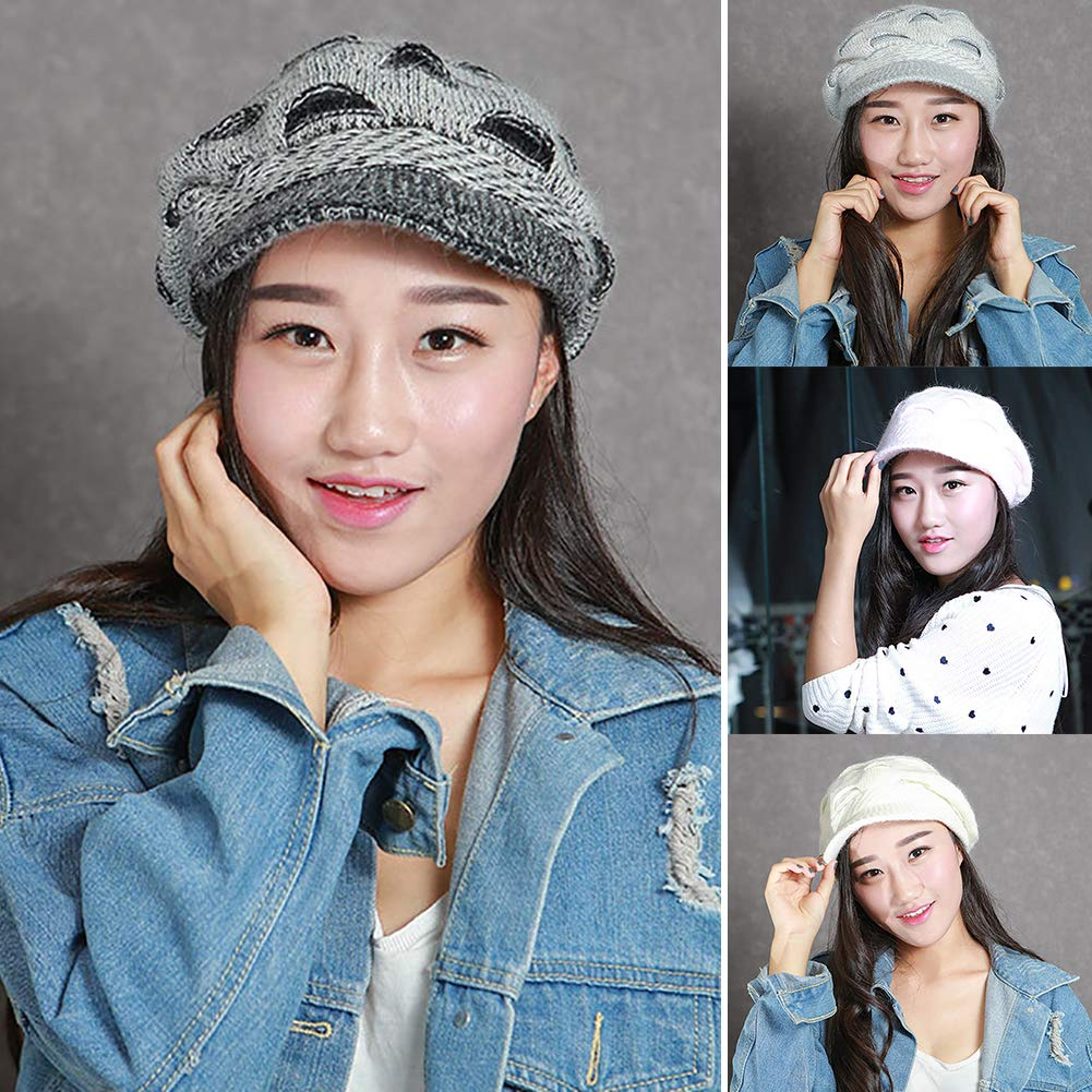 Himpokejg Fashion hat,Womens Winter Outdoor Lined Warm Ripped Beret Peaked Cap Knitted Hat