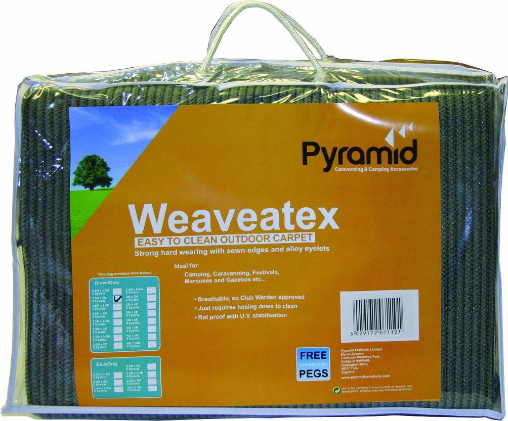 Tapis de sol Weaveatex pour tente, 2,5m x 7m, vert/gris
