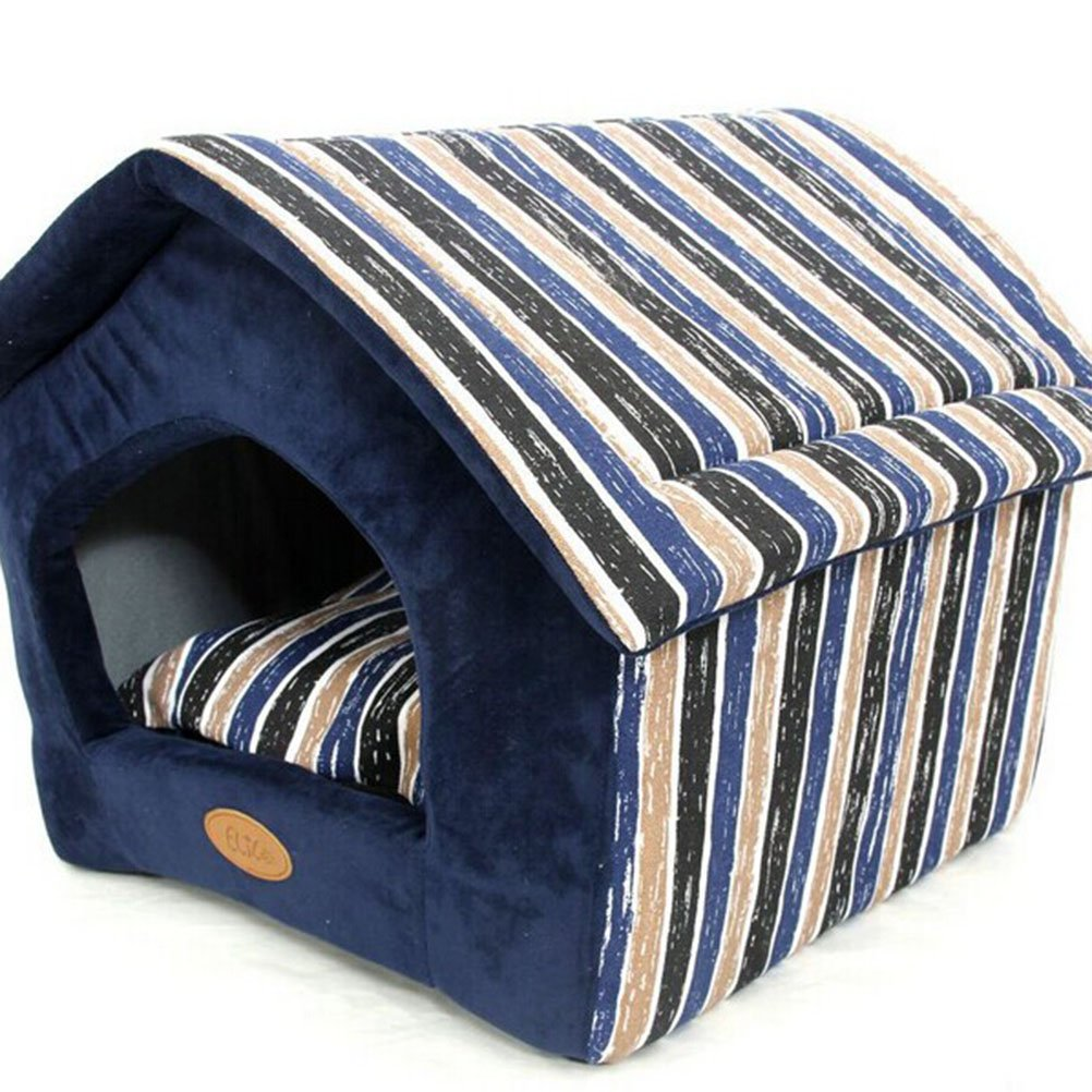 blue M blue M Pet Dog Puppy Cat Removable Canvas Soft Cotton Bed House Nest Size M (bluee)