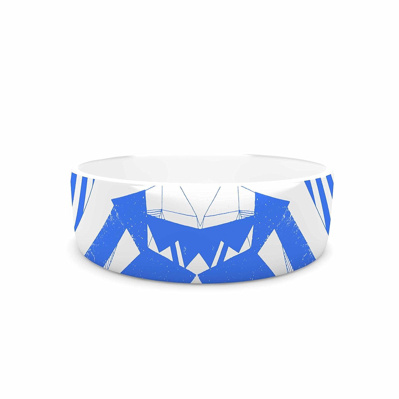 KESS InHouse Vasare NAR Azure Geometric bluee White Art Deco Pattern Pet Bowl, 7  Diameter