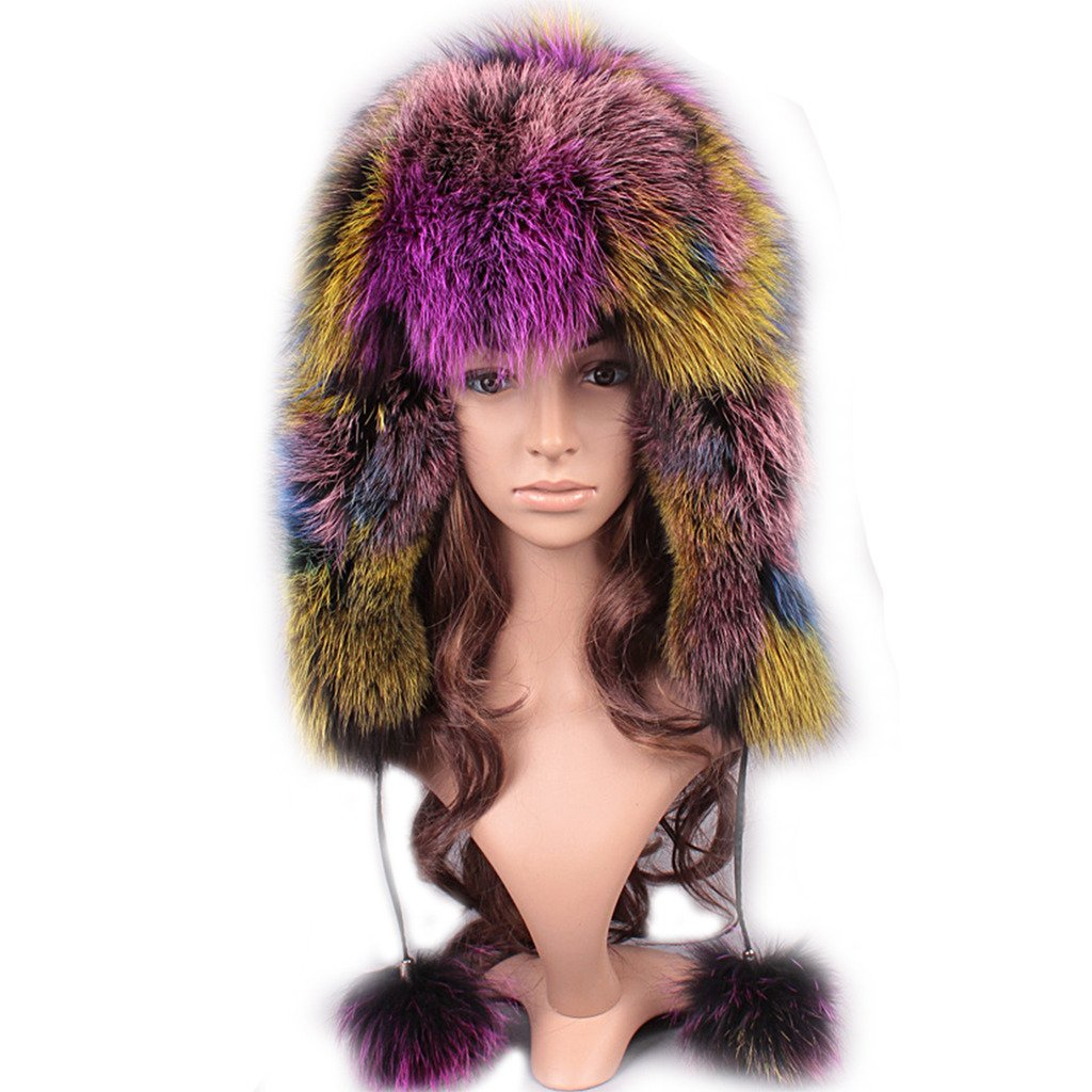 UK.GREIFF Womens Fashion Warm Stretch Fox Fur Bomber Hat Winter Cap