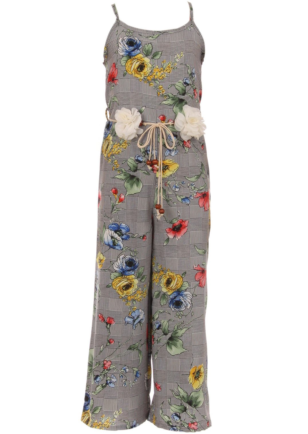 BNY Corner Little Girl Girls Jumpsuits Floral Graduation Casual Summer Birthday Outfit Yellow 6 JKS 2127