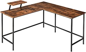 """IBUYKE Industrial 53.1"""" L-Shaped Computer Desk with Monitor Stand, Large Modern Corner Table for Multi-purpose, Study Workstation for Home Office, Space-Saving Gaming Table, Easy Assembly UTMJ052H"""