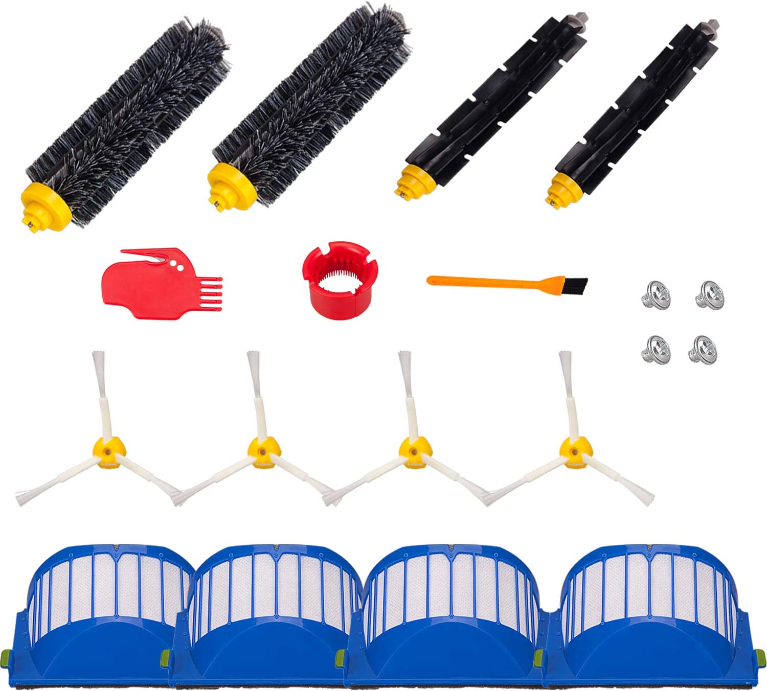 Hongfa Replacement Roomba 690 650 Parts,Replenishment Kit Parts for Roomba 680 650 660 651 614 652 and 500 Series 595 585 564,Included Side Brush,Bristle Brush and Flexible Brush