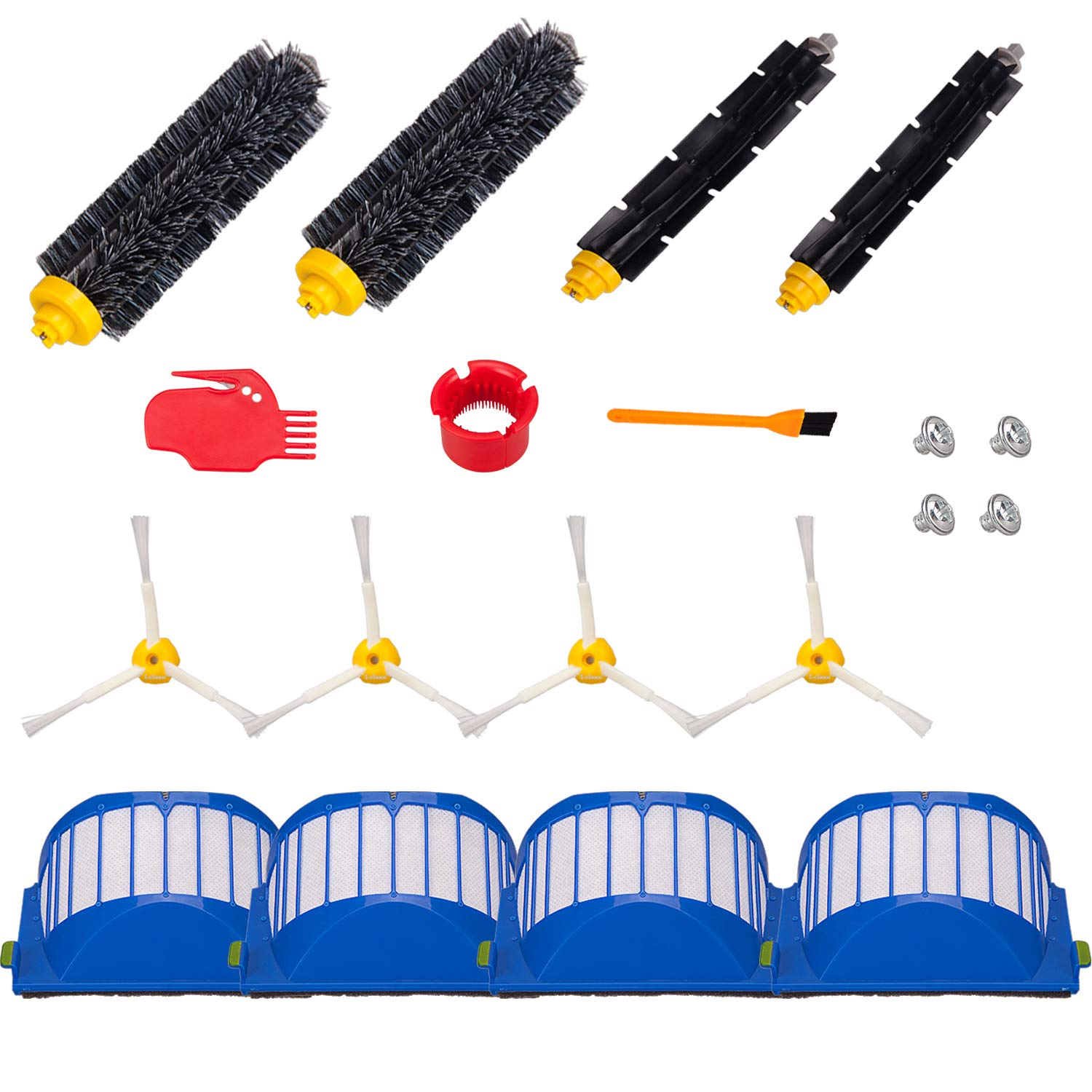 Hongfa Replacement Parts for iRobot Roomba 690,Replenishment Kit Compatible with Roomba 600 Series (690 650 680 675 660 651 700 780) Filter,Side Brush,Bristle Brush and Flexible Brush