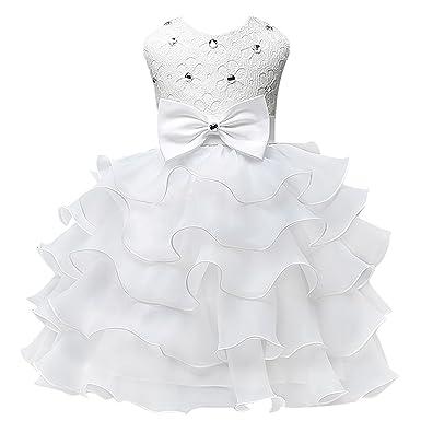b7d56174e33 Happy Cherry Enfant Bébé Fille Robe de Princesse Brodé sans Manches - Tutu  Robe de Soirée