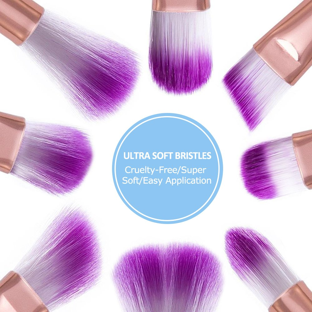 LOBKIN Set de Pinceles de Maquillaje, 10 unids Pinceles de Maquillaje Polvos Base Blush Contour Fan Brush Sombra de Ojos Pinceles de Mezcla pinceles para ...