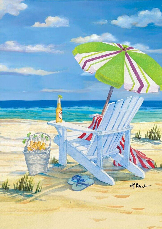 """Briarwood Lane 5 O'Clock Beach Summer Garden Flag Beach Chair Drinks 12.5"""" x 18"""""""