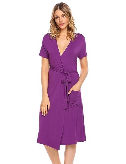 Ekouaer Women s Robe Kimono Short Sleeve Bathrobe Sleepwear Soft Elegant  Solid Color Loungewear Purple Small 4a788c17a