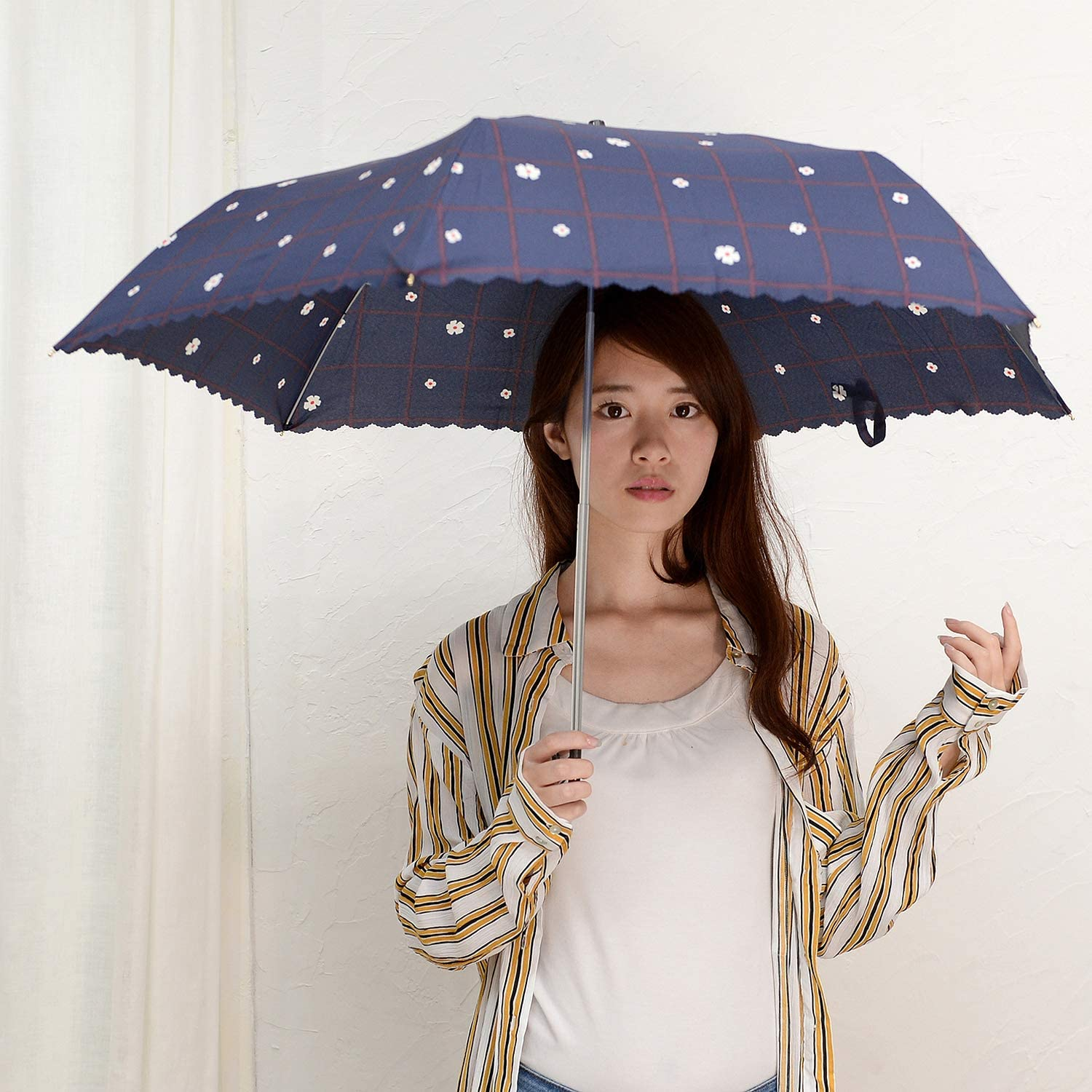Nifty Colors folding umbrella green size//about 58cm /× about 88cm Flower check six bone