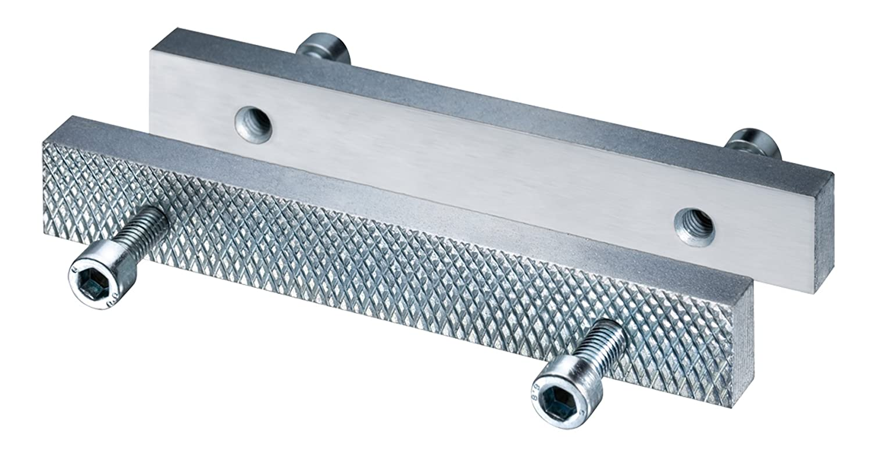 HEUER Wechselbacken fü r HEUER Schraubstock 135 mm, Stahl, gehä rtet, verzinkt, wend- und wechselbar, eine Seite glatt, andere Seite geriffelt Brockhaus Heuer