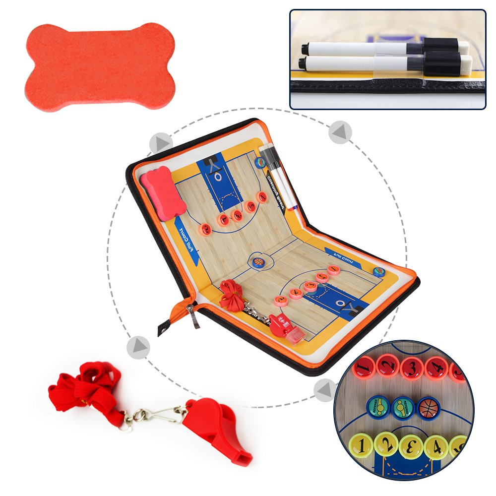AiLe Basketball Magnetic Tactic Coach ClipBoard with Dry Erase Zipper and Marker Pen - Coaching Strategy Board Kit Equipment Foldable and Portable Coach Tool