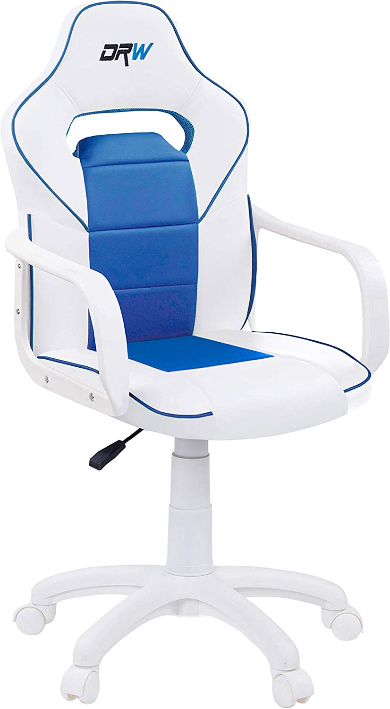DRW, Sillon Gaming, Silla de Escritorio, Estudio o Despacho, Acabado en Color Blanco y Azul, Medidas: 60 cm (Ancho) x 60 cm (Fondo) x 98-108 cm (Alto)