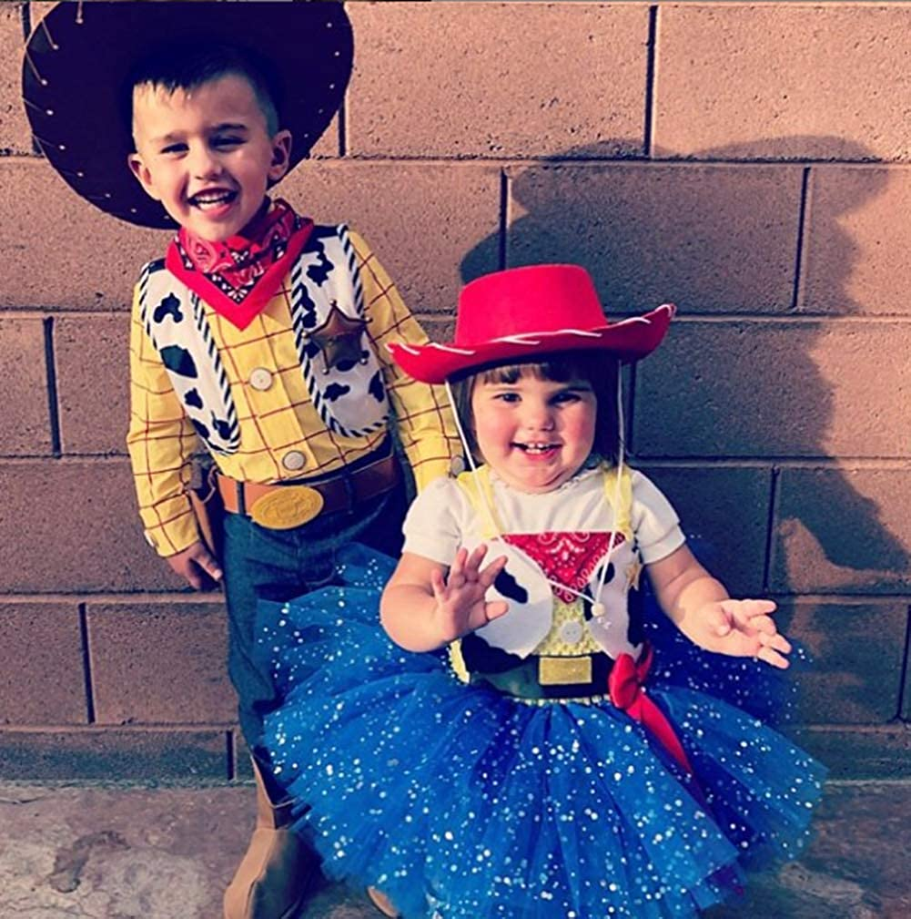 Tutu Dreams Cowgirl Costume for Girls 1-12Y with Bandana Cowboy Hat Birthday Christmas Holiday Party