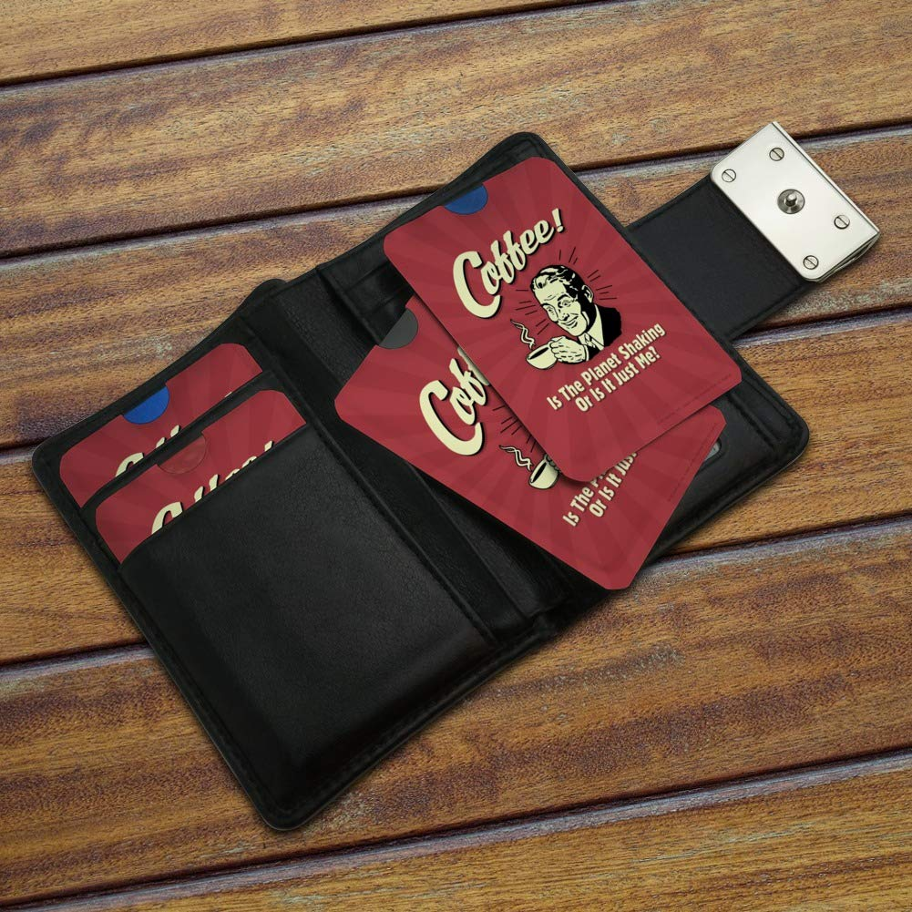 Coffee is the Planet Shaking or Just Me Funny Humor Credit Card RFID Blocker Holder Protector Wallet Purse Sleeves Set of 4