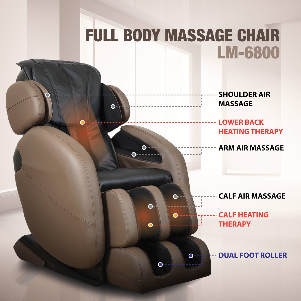 w new chair recliner s foot full rest electric itm massage shiatsu stretched chairs body heat