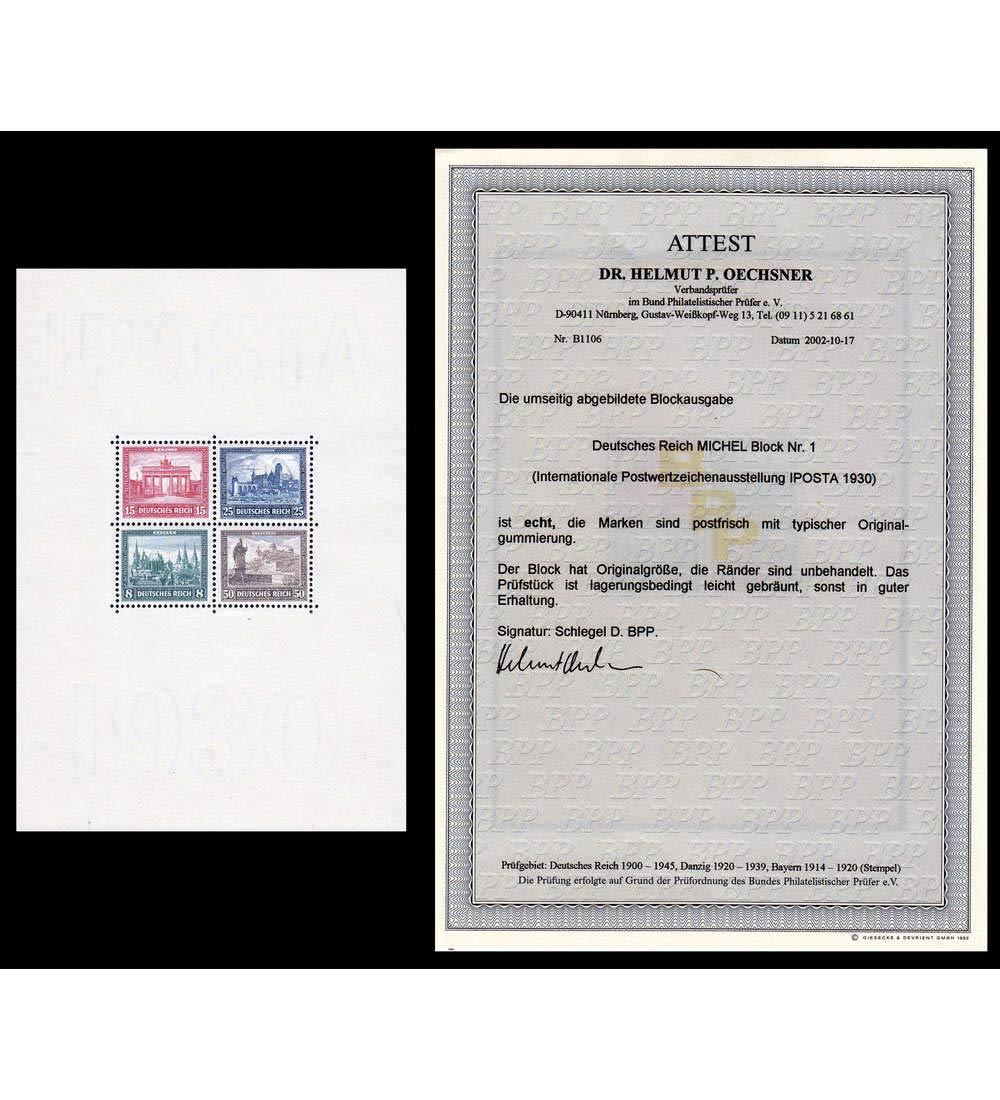 Goldhahn Deutsches Reich Block 1 postfrisch  mit Fotoattest Briefmarken für Sammler