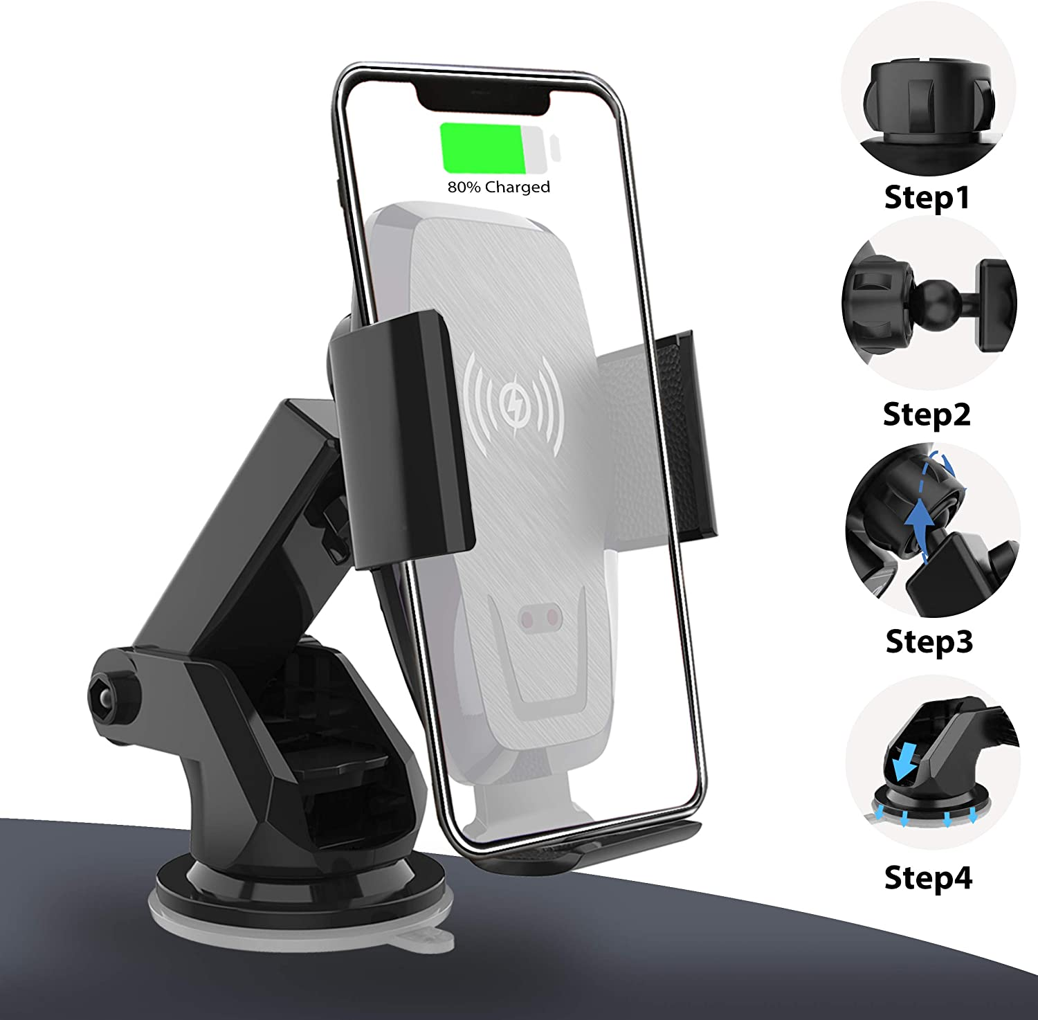 Samsung Note10//S10//S10+//S9 Auto-Clamp 10W//7.5W Qi Fast Charging Car Mount Windshield Dash Air Vent Phone Holder Compatible iPhone 11//11 Pro//11 Pro Max//XS//XS Max//X//8//8+ Iotton Wireless Car Charger