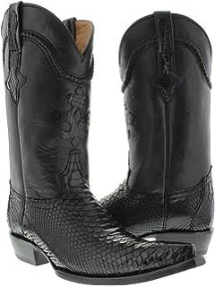 c50e149bf1fe Cowboy Professional - Men s Black Genuine Python Snake Skin Cowboy Boots  Pointed