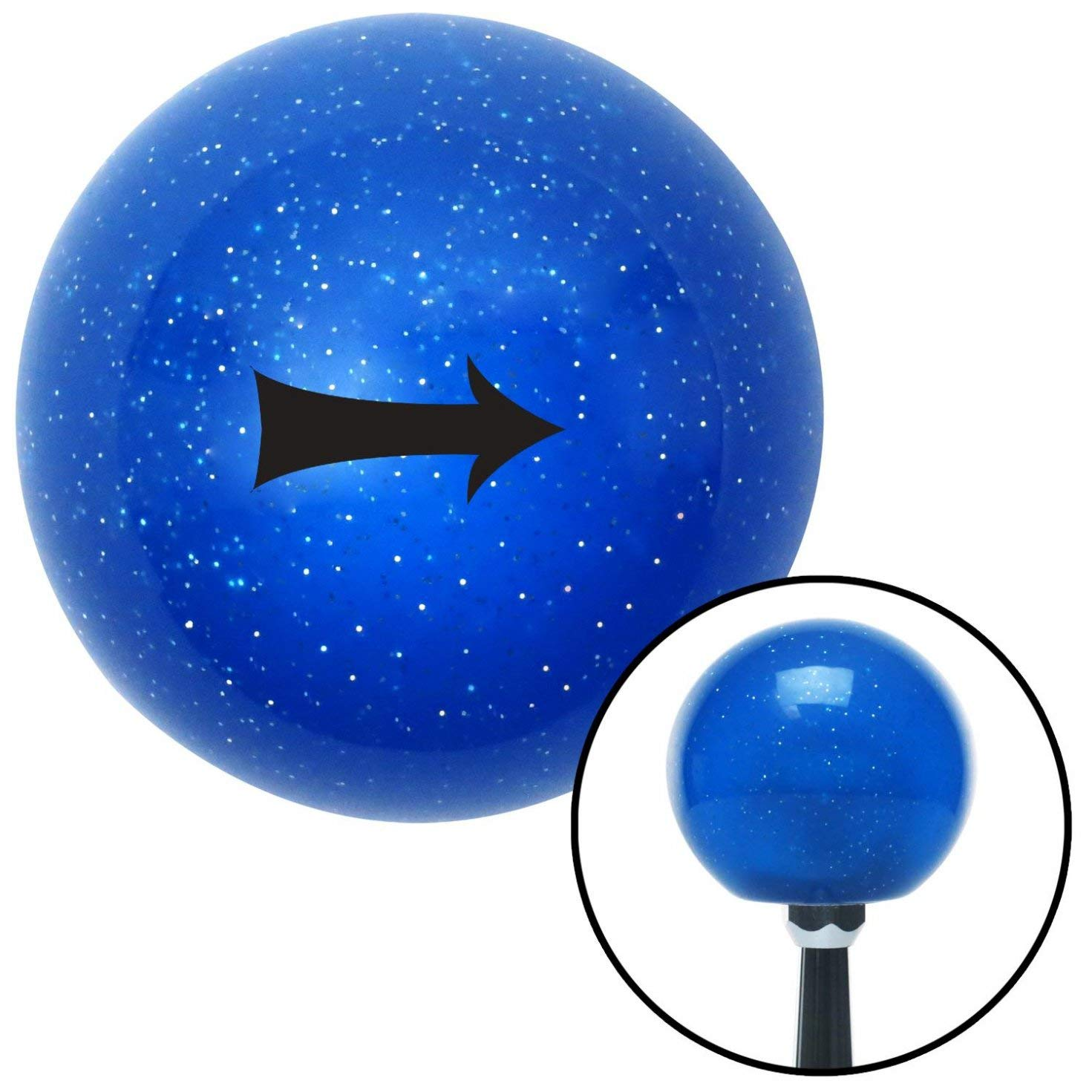 Black Solid Directional Arrow Right American Shifter 20838 Blue Metal Flake Shift Knob with 16mm x 1.5 Insert