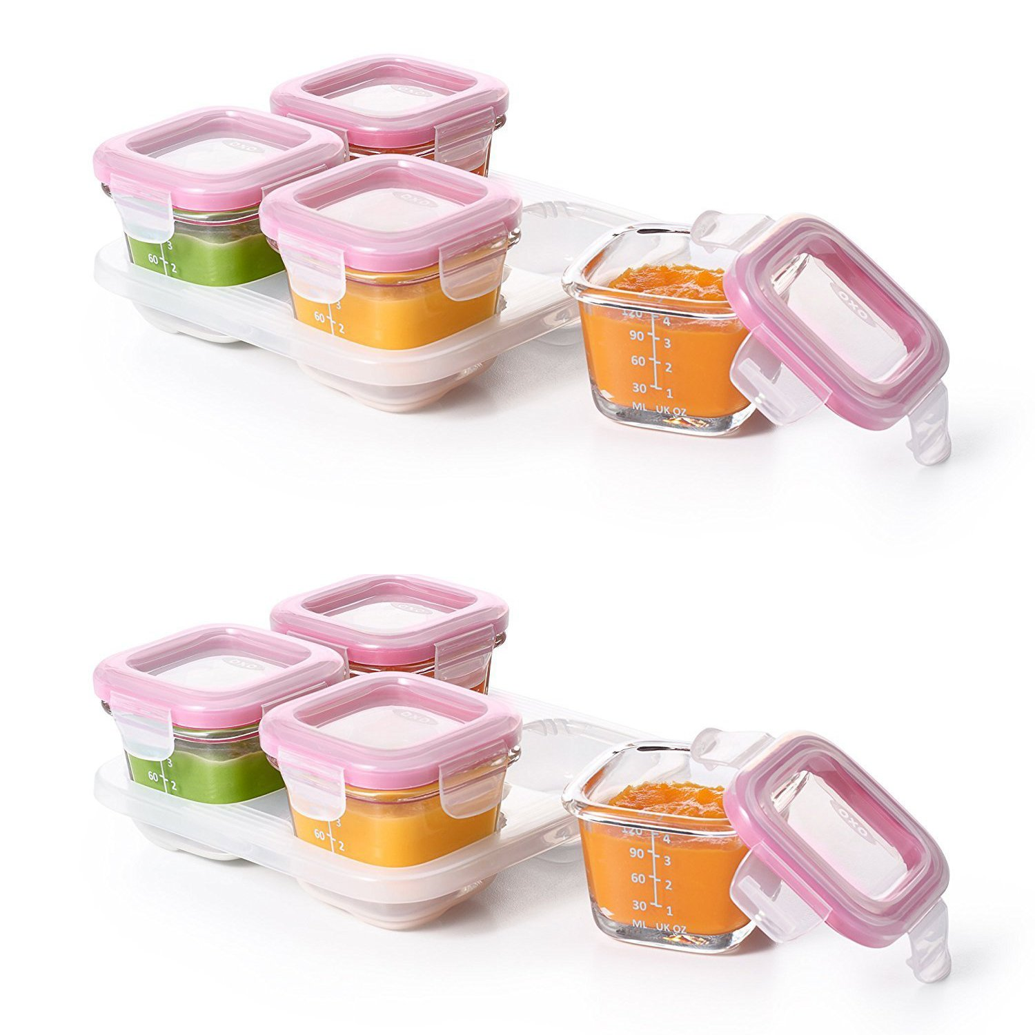 OXO Tot Glass Baby Blocks Food Storage Containers - 4 oz, Pink. 2 Pack