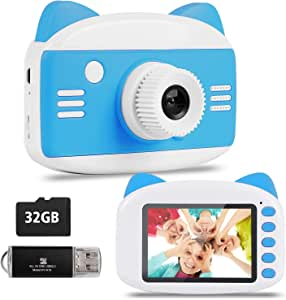 Kids Camera - Seanme 2019 New Upgraded Children Digital Camera Gift Toy for 3~12-Year-Old Boys/Girls, Child Camera Camcorder with Bonus 32GB TF Card & Card Reader (Blue)