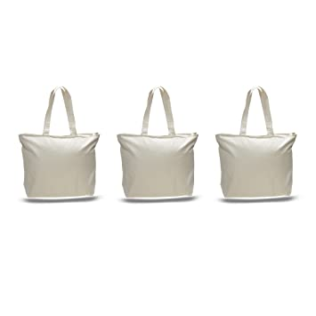 Amazon.com: PACK OF 3 Large Heavy Canvas Plain Tote Bags, with Top ...