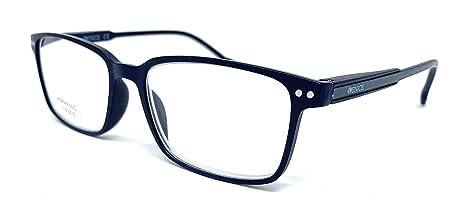 Gafas de lectura grandes mujer, hombre negro/azul - con dioptría regulables 1 a 3,5. VENICE MANAGER - montura metálica - estuche funda y cordón de ...