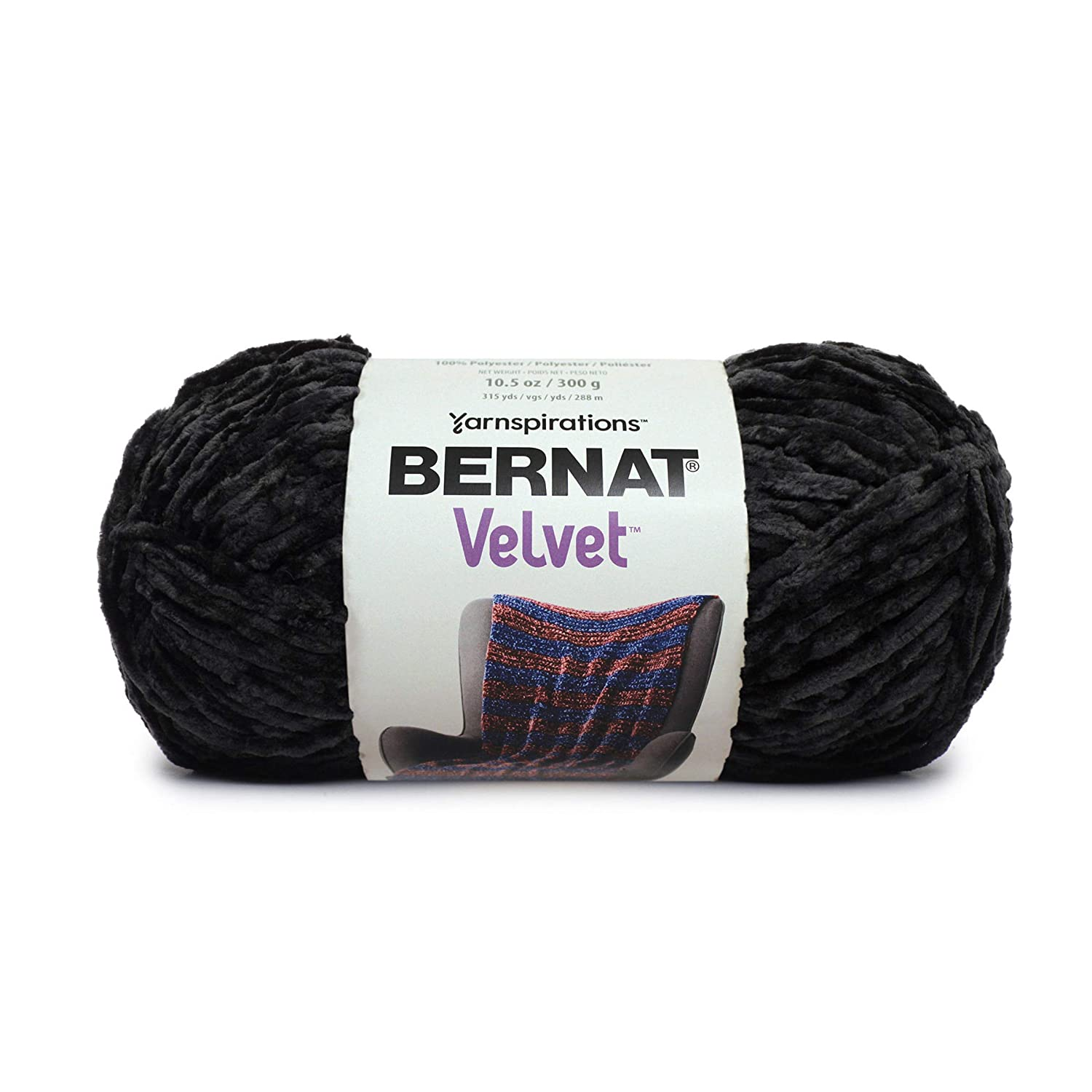 Bernat Velvet Yarn, 10.5 oz, 1 Ball, Blackbird