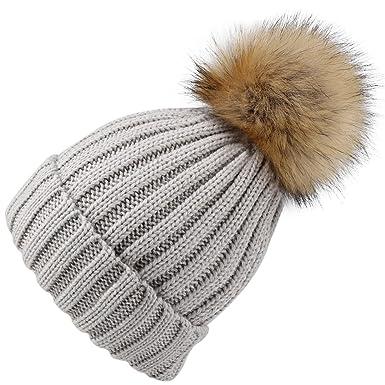 c536422b34095 YANIBEST Adult Kids Knitted Winter Warm Beanie Bubble Pom Pom Hat for  Women  Amazon.co.uk  Clothing