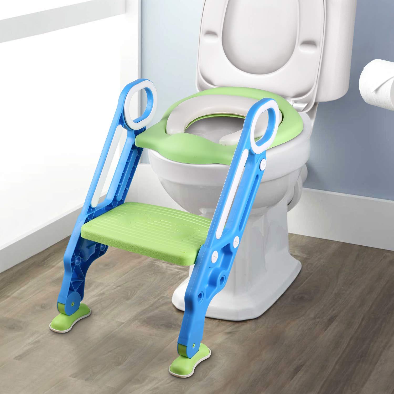 YISSVIC Siège de Toilette Enfant Reducteur de Toilette Pliable et Réglable Escalier Toilette Enfant avec Échelle Marche pour Enfants 1 à 7 ans Earthly Paradise 8809