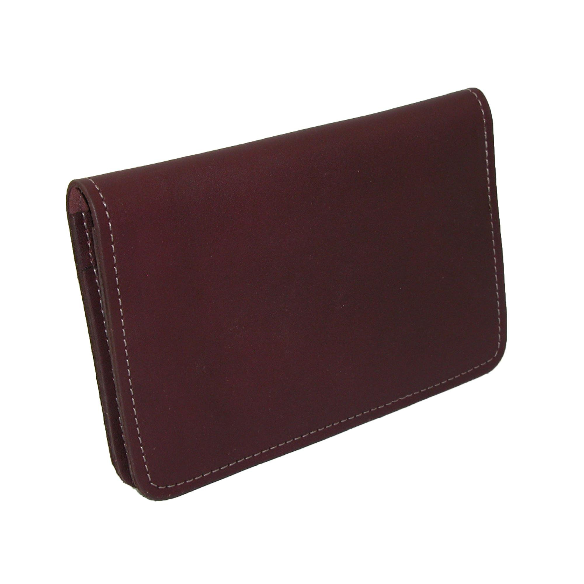 CTM Leather Top Stub Checkbook Cover, Burgundy