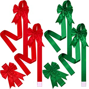 6 Pieces Christmas Cabinet Festive Ribbons Christmas Door Ribbon and Bows for Christmas Party Decorations (Red, Green)