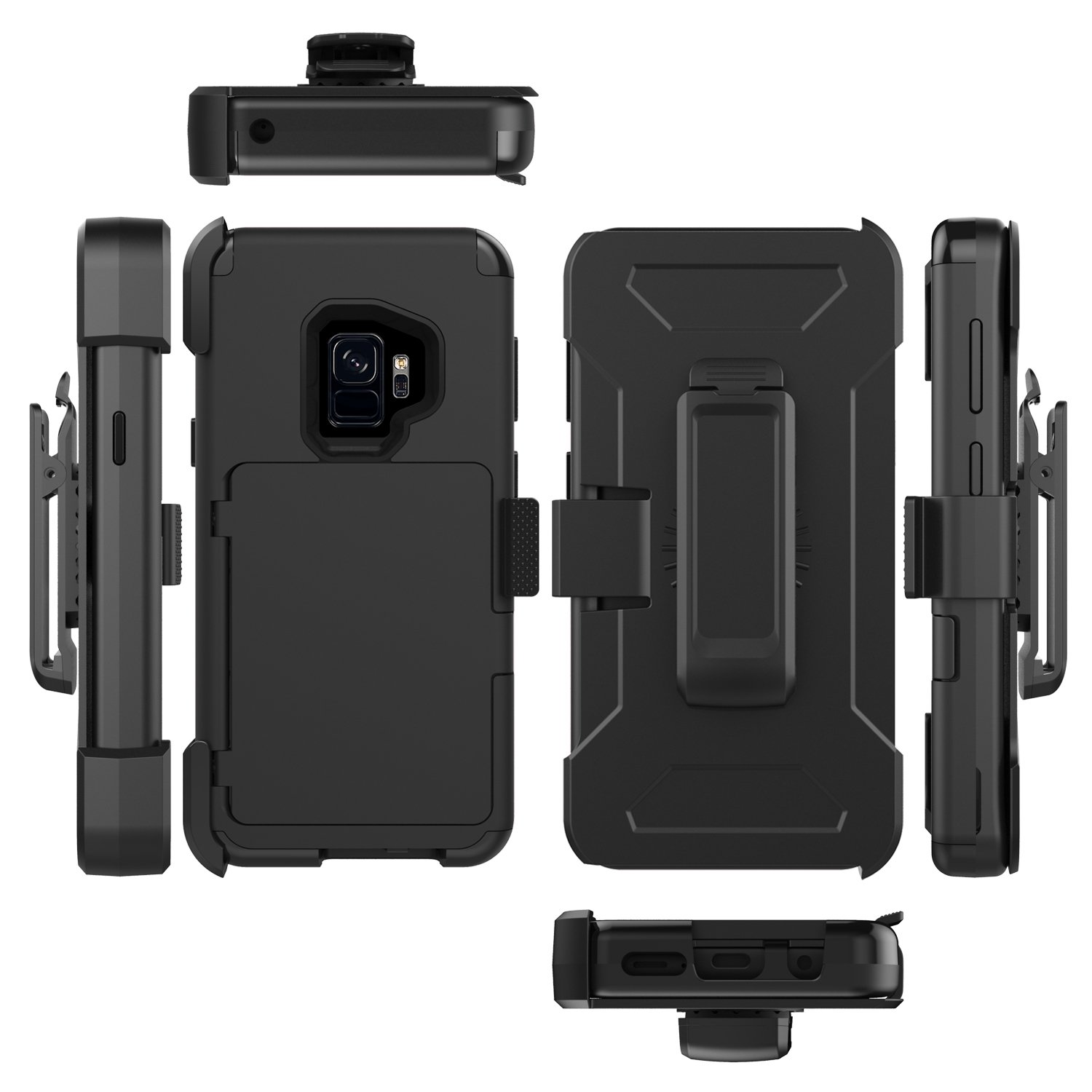 Galaxy S9 Belt Clip Case Xrpow Rugged Holster Wallet Iphone Xr Spigen Anti Shock With Card Slot Slim Armor Cs Casing Black Holder Stand Built In Mirror Heavy Duty Protection For