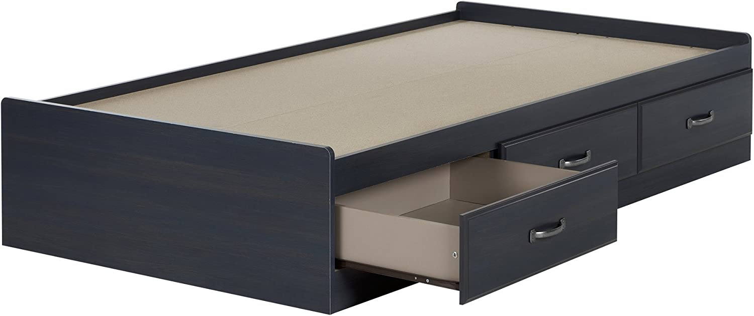 South Shore Ulysses Mates Bed with 3 Drawers, Twin 39-inch, Blueberry