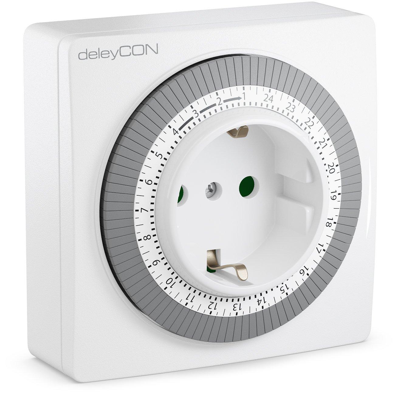 deleyCON Mechanische Zeitschaltuhr Zeitschalter Schaltuhr Timer manuell einstellbar ü ber Drehscheibe 96 Schaltungen Innenbereich 3500W Weiß